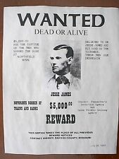 """(735) OLD WEST OUTLAW JESSE JAMES $5,000 REWARD WANTED REPLICA POSTER 11""""x14"""""""
