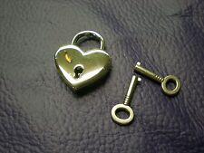 """Padlock, 1-1/2"""" Silver Heart Shape Lock & Keys, 1-1/2"""" Lock, Pendant, Jewelry"""