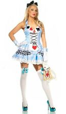 Señoras Alice in Wonderland fancy dress Damas De Cuento De Hadas Disfraz Historia Libro