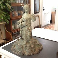 Antique Cast Metal Figural Statue Woman With Lamb