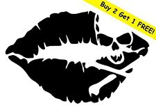 SKULL LIPS Vinyl Decal Sticker Car Window Wall Bumper Pirate Crossbones JDM Kiss