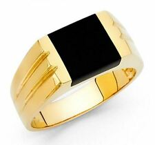 Men's 14k yellow Big Bold Real Gold Nugget Ring with Onyx