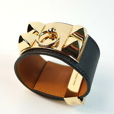 Genuine Leather Black Gold top quality bracelet Collier De Chien cuff bangle