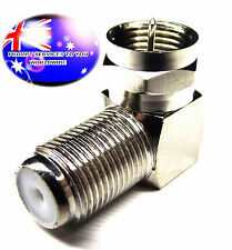 From OZ Quality 1PC TV Aerial Type F Male To Female Right Angle Coax Adaptor +FP