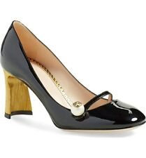 $695 GUCCI Arielle Half Moon Gold Heel Pump Pearl Black Patent Leather Shoe 38