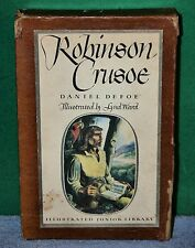 Vintage Book - Robinson Crusoe by Daniel Defoe 1946 Illustrated Junior Library