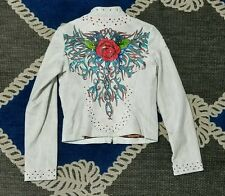 Bikers Womens Wilson's Leather White Jacket Size small artistic rose embellished