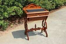 Fabulous Unusual Walnut Victorian Renaissance Revival Sewing Table Desk Ca.1870