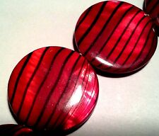 Two Red and Black Stripe Dyed Mother of Pearl Beads