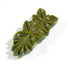 Vintage Bakelite Pin Brooch Clip deeply carved geometric floral pickle green