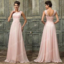 Long Lace&Chiffon Bridesmaid Evening Formal Party Cocktail Dress Prom Ball Gown