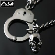 "Handcuff with skull dark gray fashion pendant 17"" chain necklace"