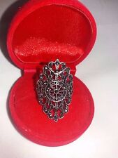 New Vintage Ring Cocktail Black Size 7.5 Alloy Marcasite #71