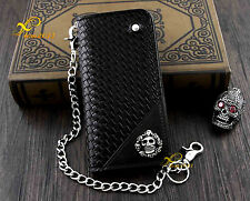 Mens Skull Black Braid Leather Biker Chain Wallet Purse. Fast Shipping