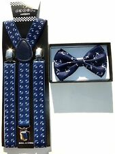 NEW Navy Blue  Anchor Suspenders and Bow Tie Bowtie Combo Set