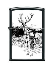 Zippo 218 buck with rack black & white artist print deer hunting Lighter