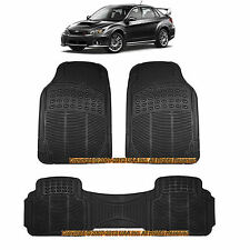 3PC FORESTER ALL WEATHER BLACK RUBBER FLOOR MATS SET for SUBARU IMPREZA