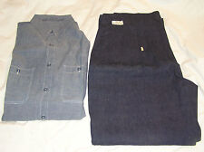Vintage Original WW II Era Navy Blue Deck Chambray Shirt Dungaree Pants Unworn