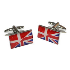 Union Jack British UK & Denmark Danish Flag CUFFLINKS Mens Present GIFT BOX