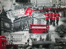 REGENT STREET LONDON FAMOUS SITES UK BUS BOBBIES COTTON FABRIC FQ