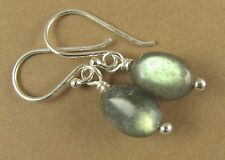 Labradorite earrings. Bright fire. Blue green. Oval. Sterling silver 925