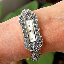 W2 Montre Bracelet Argent Massif 925 Marcassites stylé Vintage Art Déco