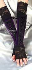 PURPLE BLACK LACE UP XX LONG VELOUR FINGERLESS GLOVES CUFFS ARM WARMERS GOTH