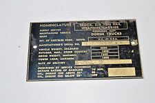 Dodge WC 52 Nomenclature Data plate BRASS NOS Weapons Carrier