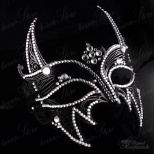 Women Men Wolverine Superhero Metal Masquerade Mask [Black with Rhinestones]
