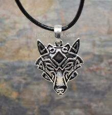 Antique Silver Plt Wolf Face Pendant Necklace, Ladies Mens Gift Viking Norse