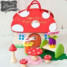 Personalised Wooden Fairy Flower Toadstool, Fairy House, Fairy Carry Set, Toy