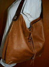 LUCKY BRAND 2 TONES BROWN LEATHER HOBO SHOULDER BAG *GUC*