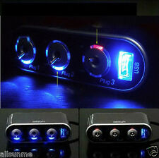 3 Conectores Triple Enchufe De Mechero De Coche Divisor 12V/24V +USB+Luz LED