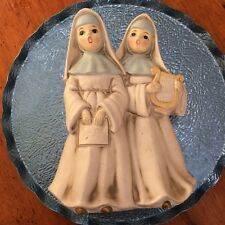Vintage Porcelain 2 Singing Nuns With Harp Music Box Playing Dominique