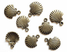 10 Metal Antique Bronze Colour Shell Charms - 18mm