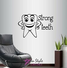 Vinyl Wall Decal Strong Teeth Smiling Tooth Dentist Dental Office Cabinet 526