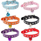 Adjustable PU Leather Diamante Bell Collar With Safety Buckle For Pet Cat Dog