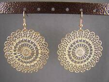 Gold tone filigree cutout medallion disc dangle earrings 2.25 inches long