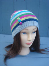 MONSOON/ACCESSORIZE STRIPED KNIT BEANIE WOMENS WOOL/ANGORA BLEND HAT Colourful