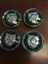 "SET OF 4 NEW JAGUAR CHROME CENTER CAPS X S TYPE XJ8 XK8  2"" FITS ALL - GREEN"
