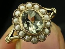 1240-Genuine 9K Solid Gold Natural Green Amethyst & Pearl Ring made in your size