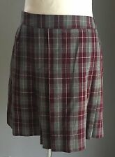 Pre-owned Grey/Burgundy/White Check Pleated Skirt Size 14
