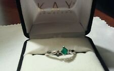 10k White Gold Emerald And Diamond Ring Size 7
