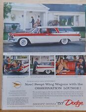 1957 magazine ad for Dodge - Swept Wing Wagons with Observation Lounge! colorful