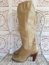 VINTAGE ZODIAC Boots Tan Beige Cowboy Western High Tall Steel Toe Womens 6