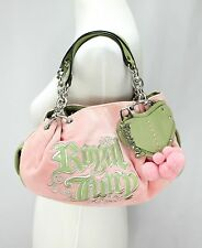 Juicy Couture Royal Handbags Satchel Pink Velour Green Leather Pompoms