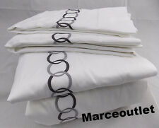 Pratesi Orbite Egyptian Cotton KING Sheet Set White / Gray
