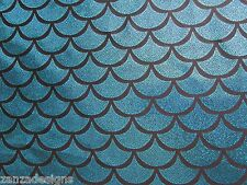 TEAL SPARKLE MERMAID SCALE HOLOGRAM 4-WAY STRETCH SPANDEX FABRIC BY THE YARD