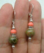 Quality Smooth Unakite W. Pink Coral SS Earrings -- Leverbacks   A0209