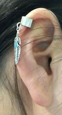 Silver Tone Faux Turquoise stone Feather Charm Ear Cuff  Clip Stud Wrap Earring